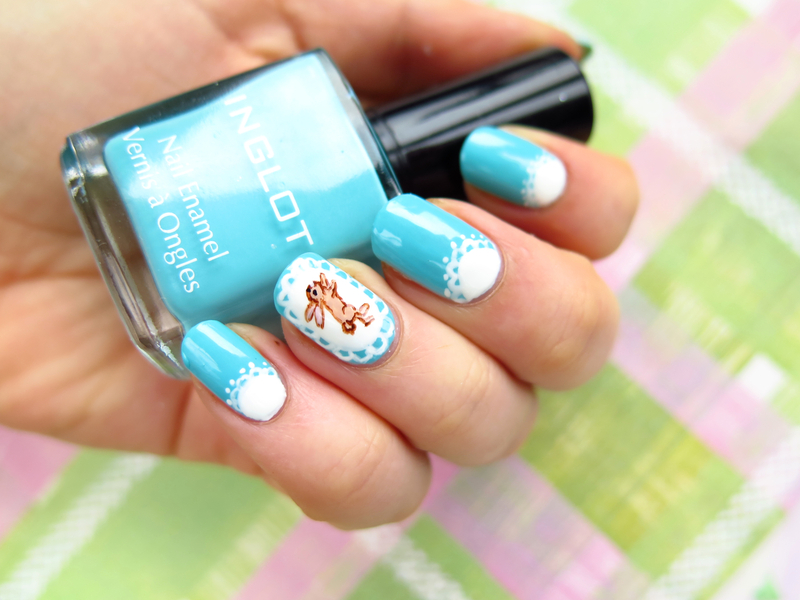Cute easter bunny and lace  nail art by theCieniu
