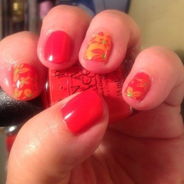 Coral red with flowers nail art by Ronit