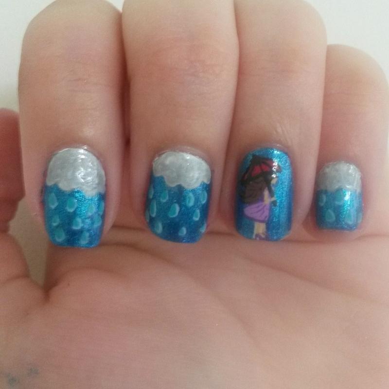 Rain Check nail art by Kyra Smith