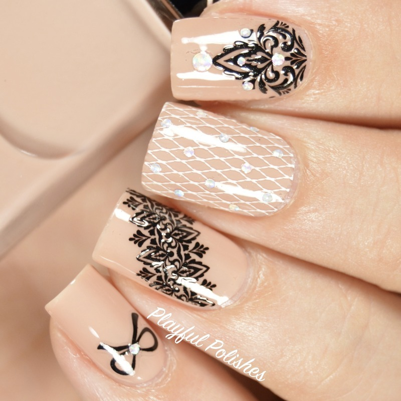 Lace Nail Bliss Nail Pop Appliques nail art by Playful Polishes