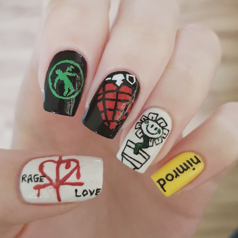Green Day nail art (freehand) nail art by Alexandra