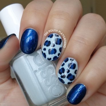Blue Leopard Print nail art by Lisa N