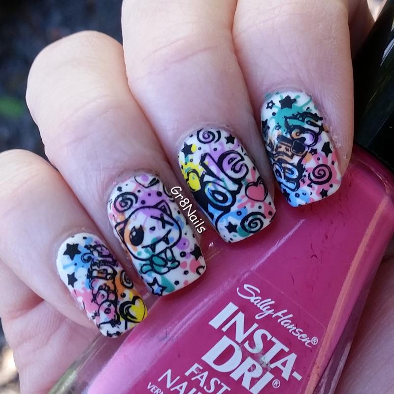 Graffiti nail art by Gr8Nails