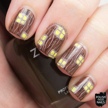 Woody Window nail art by Marisa  Cavanaugh