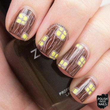 Brown wood grain window whimsy nail art 4 thumb370f