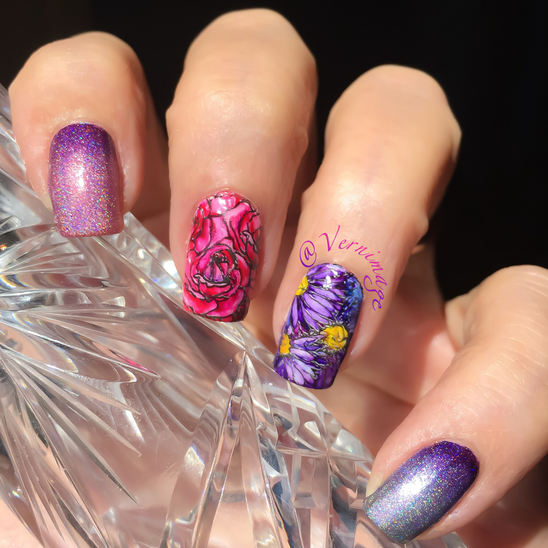 Leadlight mani with watercolors nail art by Vernimage