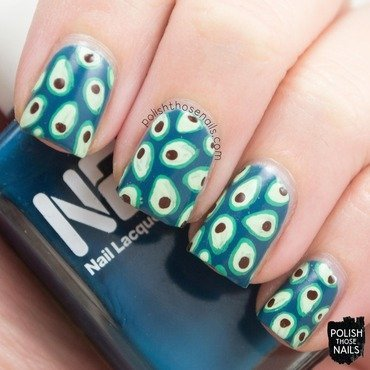 Blue avocado food pattern nail art 4 thumb370f