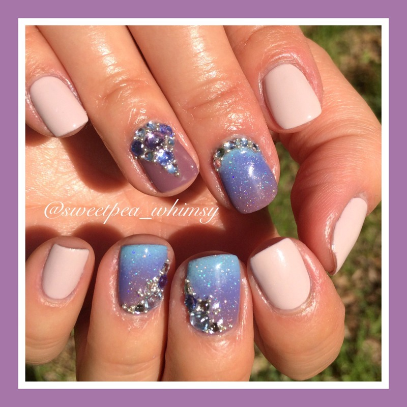 Purple/Periwinkle Ombre with Sparkle nail art by SweetPea_Whimsy