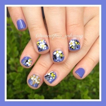 White Daisies on Periwinkle  nail art by SweetPea_Whimsy
