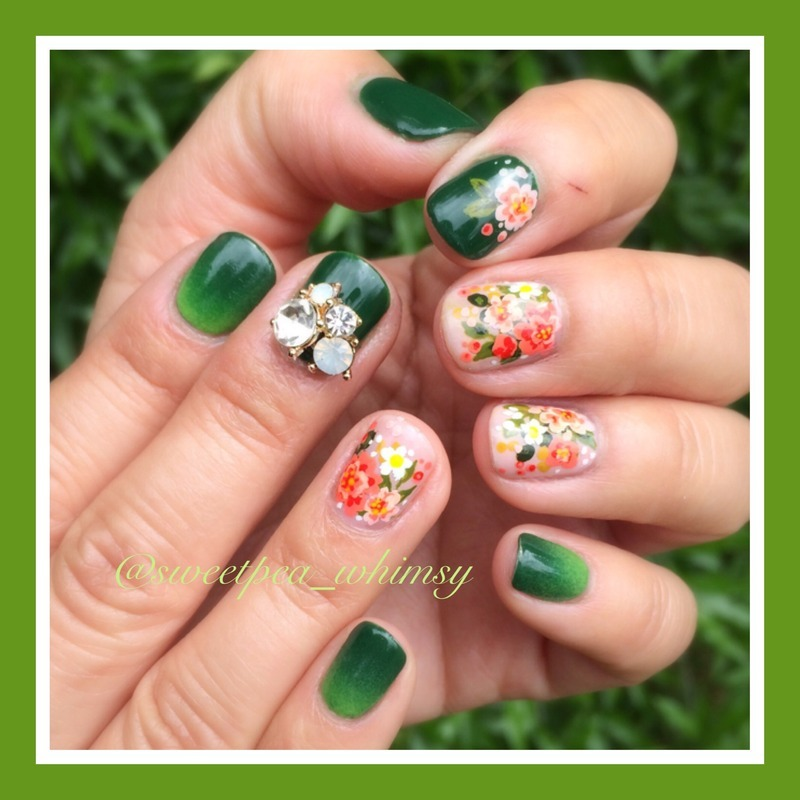 💚 Green Ombre with Spring Floral nail art by SweetPea_Whimsy
