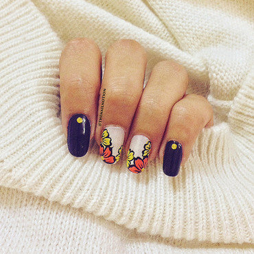 Orange & Yellow Floral Nail Art nail art by Letisha  Fernandes