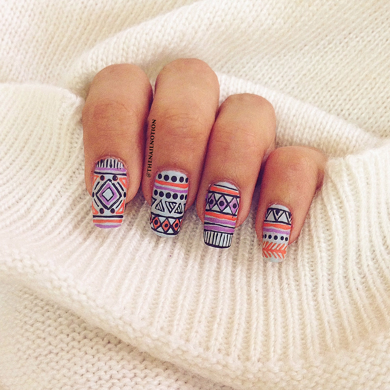 Matte Tribal Nails - Inspired By @peppermintpolish nail art by Letisha  Fernandes