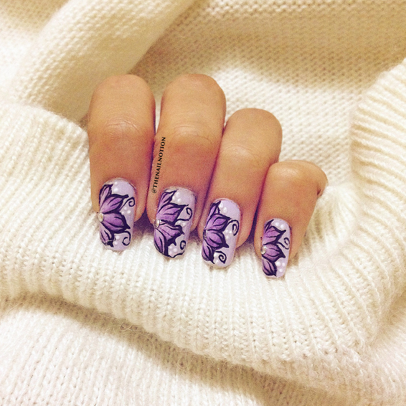 Purple Flowers Using One-Stroke Technique nail art by Letisha  Fernandes