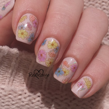 Colorful flowers nail art by RedRouge