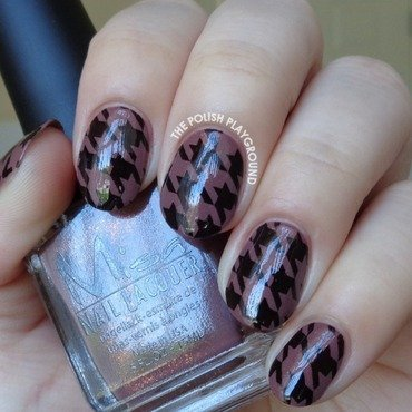 Brown 20shimmer 20and 20black 20houndstooth 20stamping 20nail 20art thumb370f