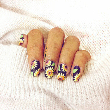 Matte Sunflower Nails for Summer nail art by Letisha  Fernandes