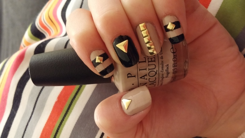 black, nude and gold  nail art by Maya Harran