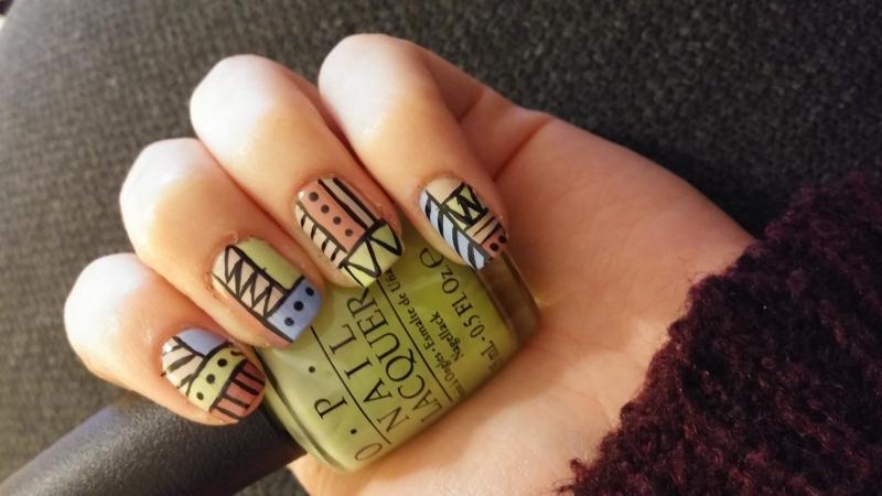 Pastel Aztec tribal nail art by Maya Harran