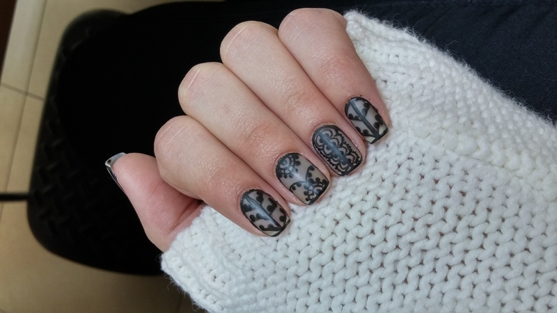 Sheer Black Lace nail art by Maya Harran
