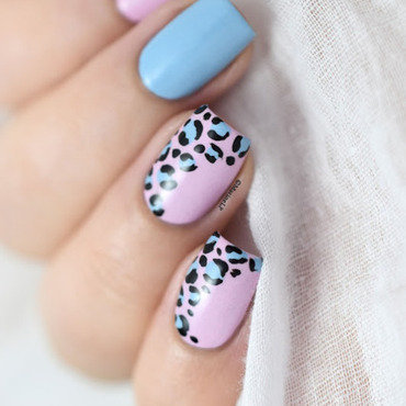 Pink blue leopard nail art video tutorial 20 7  thumb370f