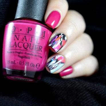 Pink abstract nail art by Marine Loves Polish