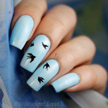 Swallows nail art by Yue