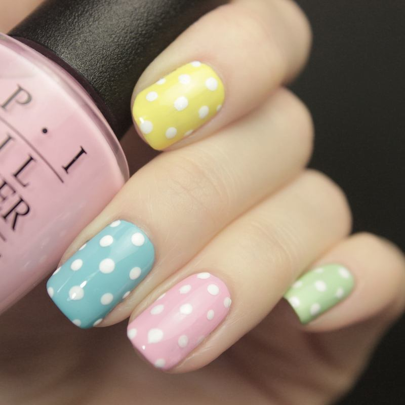 Easter Dots nail art by Tine