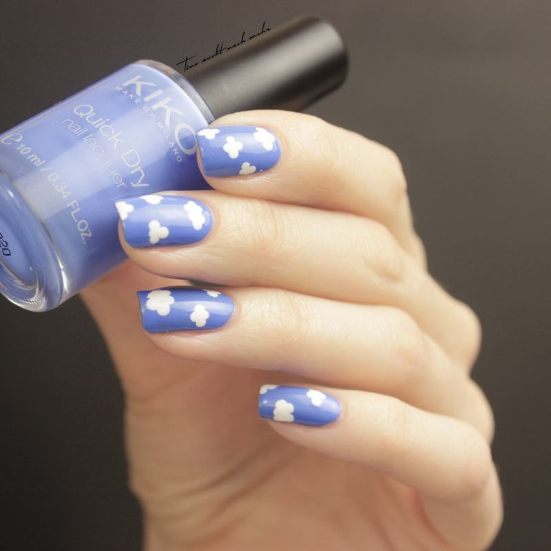 Clouds nail art by Tine