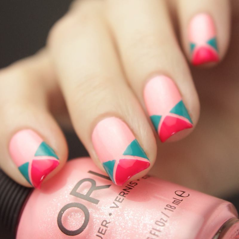 Triangles nail art by Tine