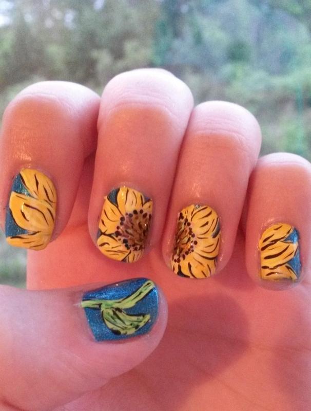 Sunflower Spring nail art by Kyra Smith