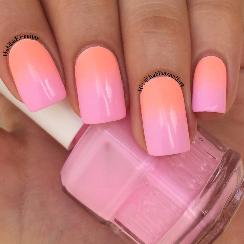 neon gradient nail art by Habiba  El-kallas