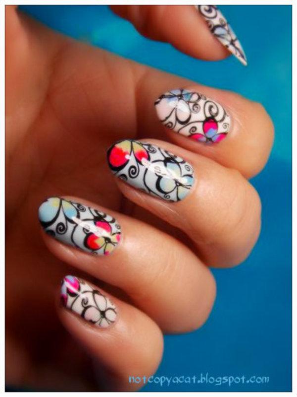 Colorful petals nail art by notcopyacat