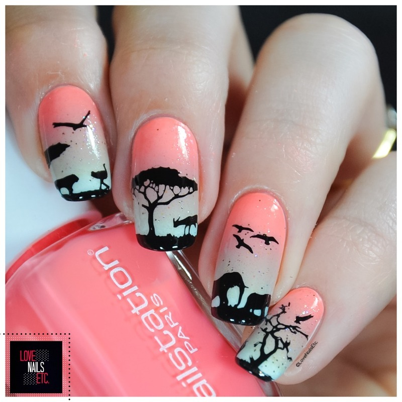 Savannah Sunset nail art by Love Nails Etc