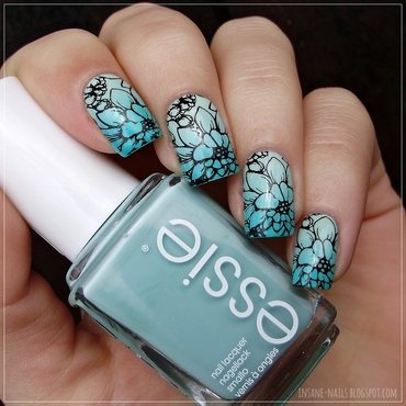 Mint green floral nails nail art by Sanela