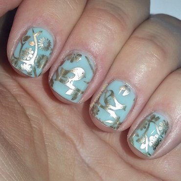Birds in the Spring nail art by Ewa