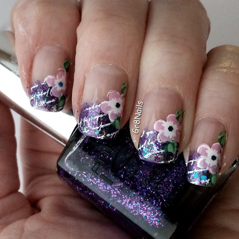 French Glitter nail art by Gr8Nails