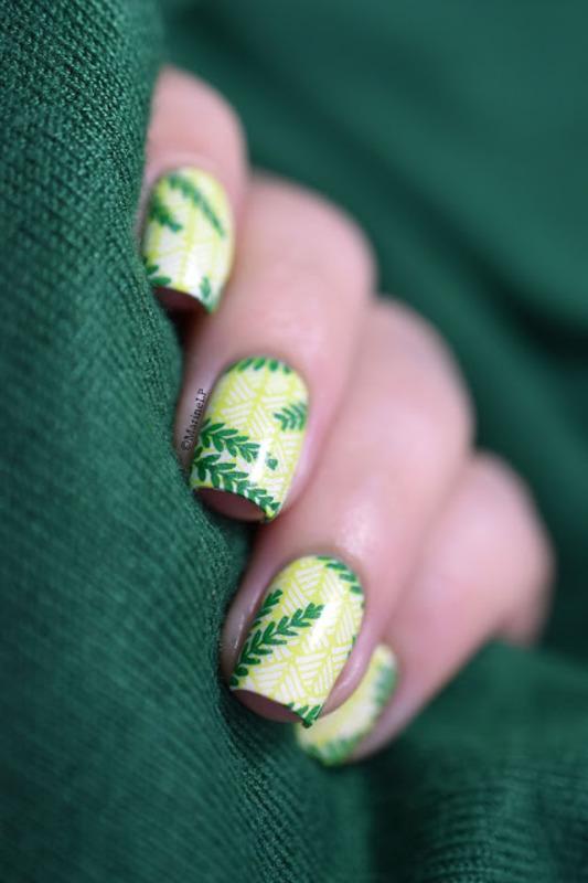Tropical Leaves nail art by Marine Loves Polish