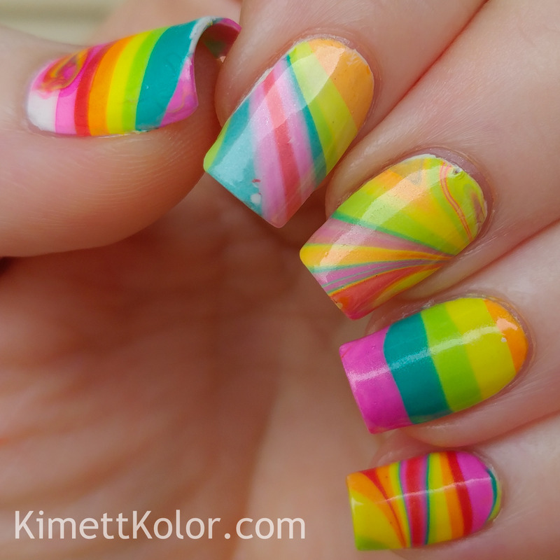 Rainbow Watermarble Skittle Fun nail art by Kimett Kolor