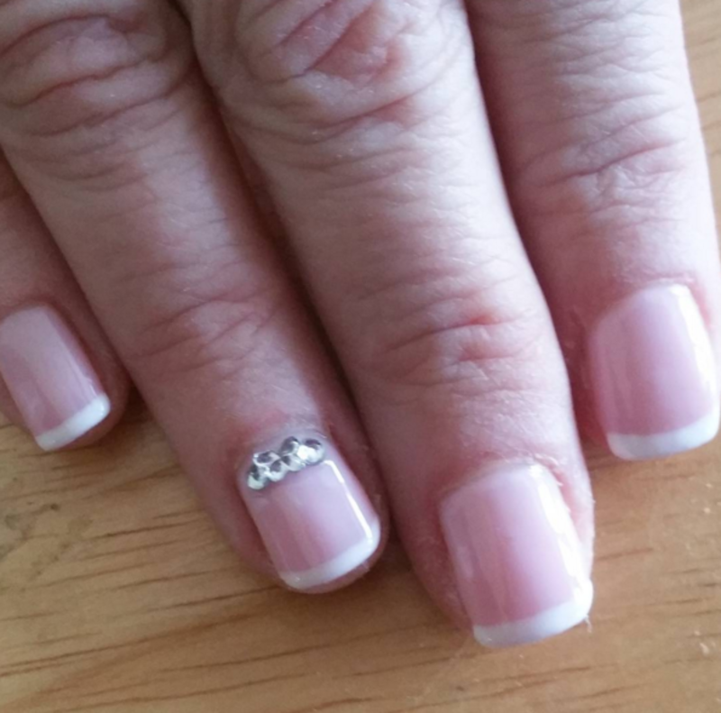 French tips with diamond butterfly nail art by Kristen Lovett