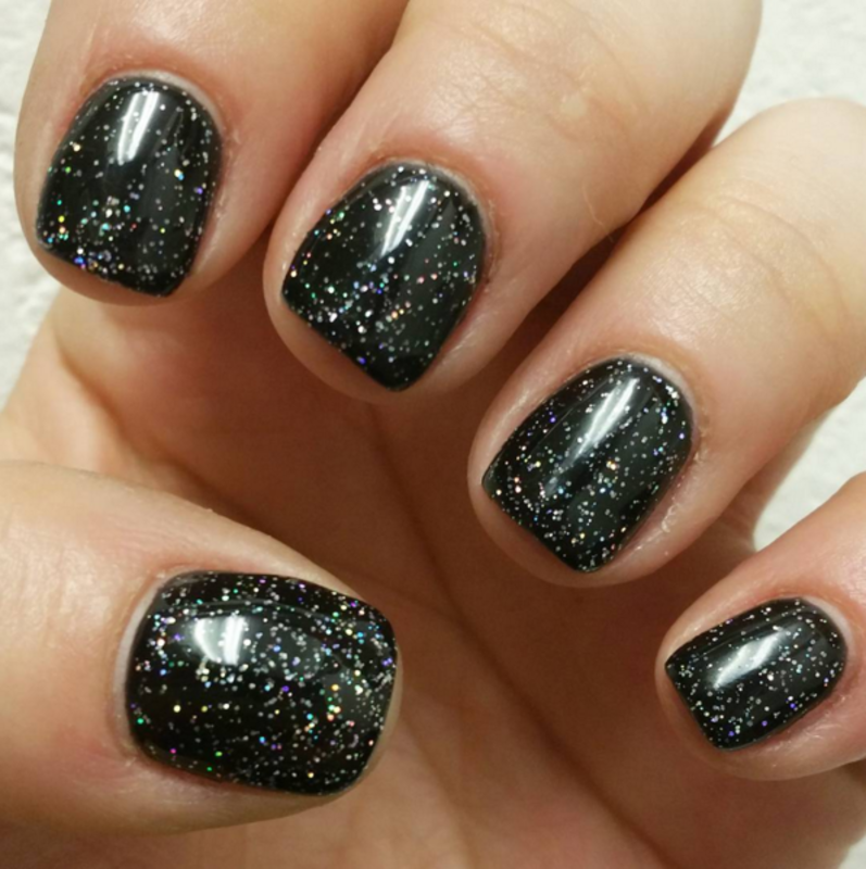 Black & Sparkly nail art by Kristen Lovett