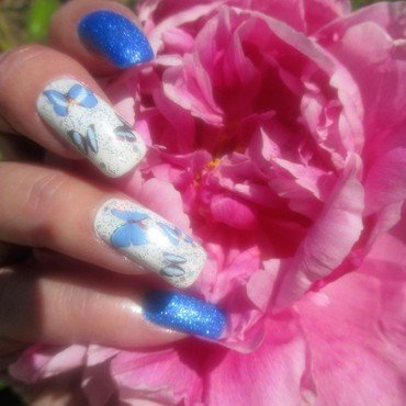 Peonies & Butterflies nail art by NinaB