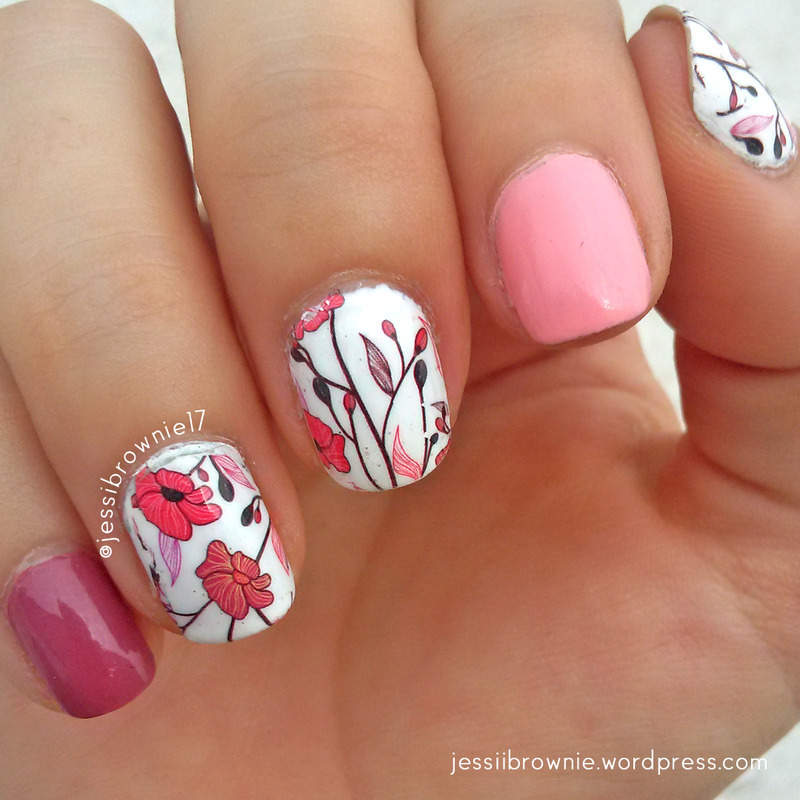 Flower Decal nail art by Jessi Brownie (Jessi)