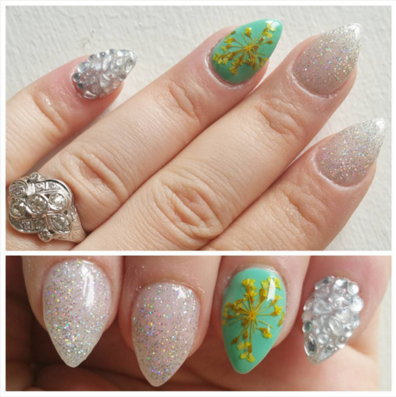Real Dried Flowers! nail art by Kristen Lovett