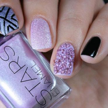 Violet rhinestones nail art by Romana