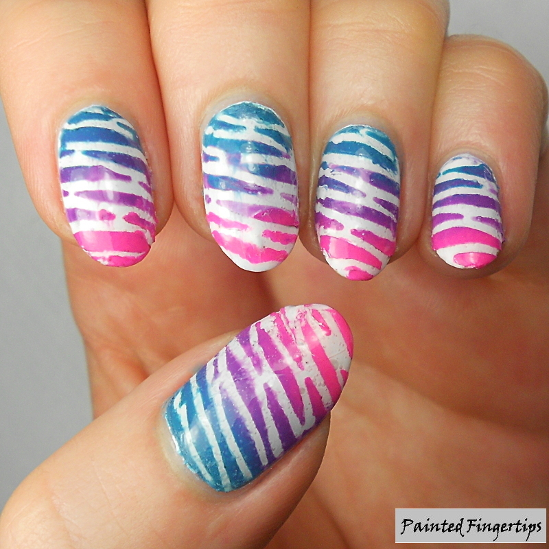 Bright stripes nail art by Kerry_Fingertips