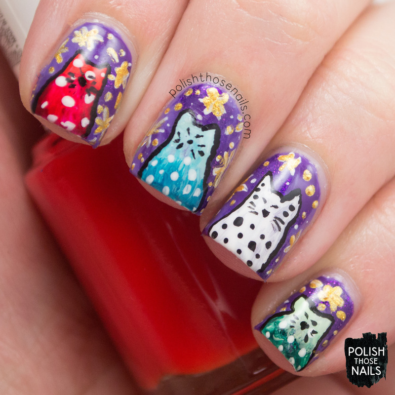 Whimsy Kittys nail art by Marisa  Cavanaugh