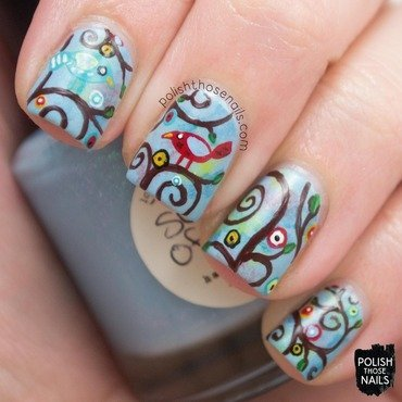 Blue whimsy bird tree nail art 4 thumb370f