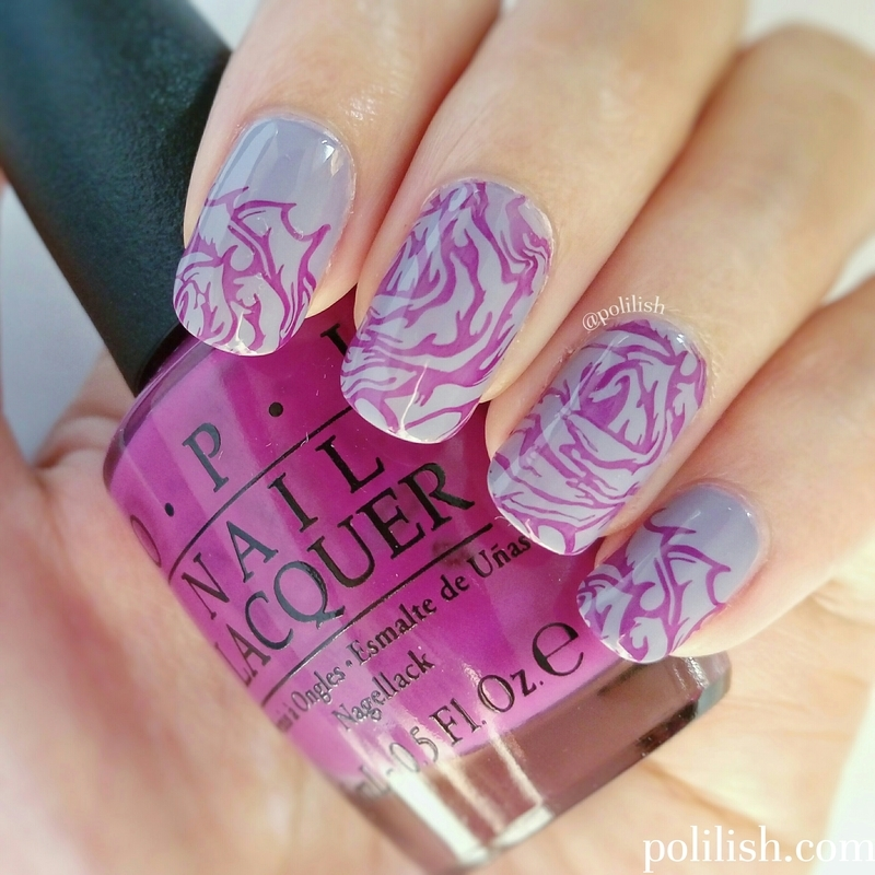 Stamped purple roses nail art by polilish