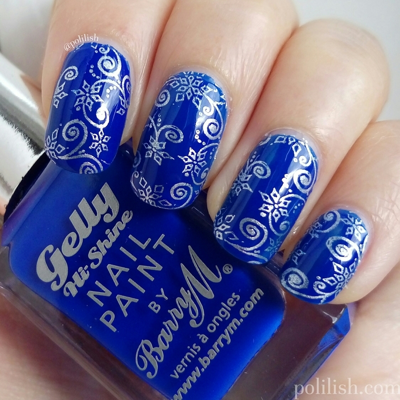 Blue & silver wintery nails nail art by polilish