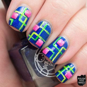 Parallax Neons nail art by Marisa  Cavanaugh